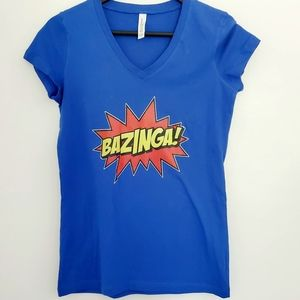 Blue BAZINGA! T Shirt Small